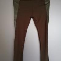 legging legergroen met lederlook vlakken L / XL