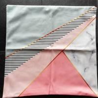 set van 2 x kussenhoes roze grijs symetrisch