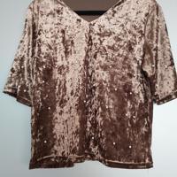 fluweel bruin shirt met parels L