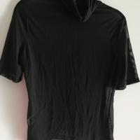 doorschijnend colshirt zwart L