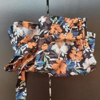 korte broek met tailleband oranje bloemen S / L