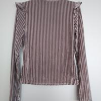 fluweel grijs shirt met rushes S