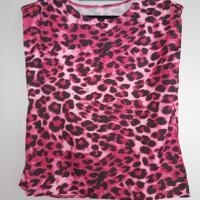shirt luipaard print met schoudervulling L