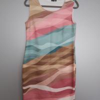 jurk in zachte pastelkleuren L