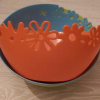 schaal groot groen/blauw/oranje 24 cm set van 3 stuks