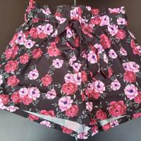 korte broek bloemen zwart met roze M / L
