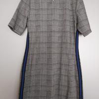 grijze geruit jurk met cobaltblauwe lijn M