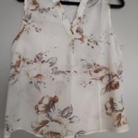 mouwloos blouse shirt bloemen M