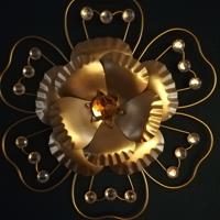 muurdecoratie goud bloem 27 cm
