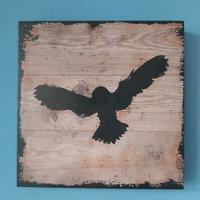 decoratie voor aan de muur hout vogel 25 cm x25 cm