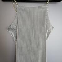 top zwart wit gestreept met parel schouderbandjes L