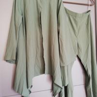 tweedelig broekpak pantalon en colbert lichtgroen L