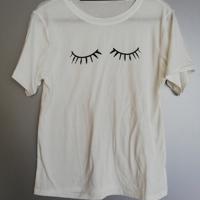 t-shirt wimpers creme zwart L