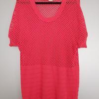 gehaakte trui roze korte mouw L