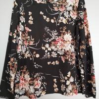 shirt bloemen zwart roze creme M