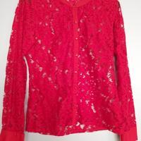 kanten blouse rood M