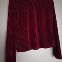 dames pullover fluweel bordeauxrood M