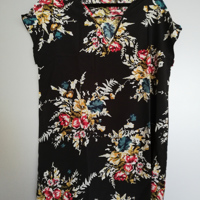 zomerjurkje zwart bloemen korte mouw met koordje XL