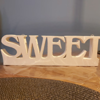 decoratie wit SWEET 37cm x 12 cm