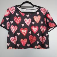 top zwart met rood roze hartjes L