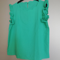 shirt groen franjes aan de mouwen L