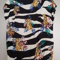 bloemen shirt met gouden boord M