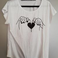 t shirt gebroken hart wit zwart L