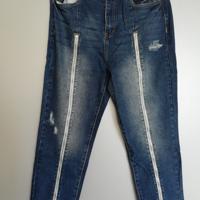 jeans met lange ritsen aan de voorzijde L