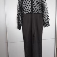 jumpsuit zwart met doorschijend bovenstuk met stippen XL