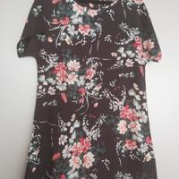 zomerjurk zwart bloemen roze groen wit bruin met mouwtje M