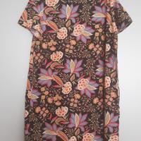 zomerjurk zwart bloemen met korte mouw paars oranje rood L