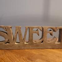 decoratie grijs SWEET 37cm x 12 cm