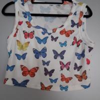 croptop met vlinders L