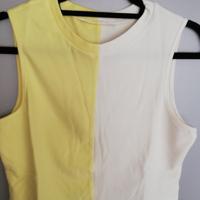mouwloze croptop geel wit L-XL
