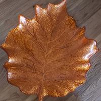 decoratie schaal herfstblad oranje glas