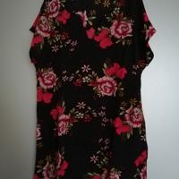 zomerjurk zwart met rood roze bloemen korte mouw M / L / XL