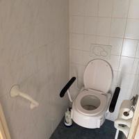 Toilet met toilet beugels voor ondersteuning en muurgrepen