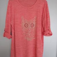 roze shirt met glitteruil en oprolmouwen L