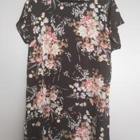 zomerjurk korte mouw zwart bloemen roze grijs creme L / XL