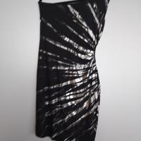 jurk zwart zilver met open zijkant offschoulder S/M
