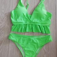 bikini neon groen met franjes M