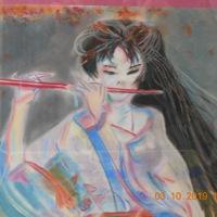 schilderij vrouw met fluit