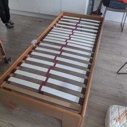 Extra lang houten bed 220x90 cm incl. lattenbodem en matras