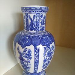 leuk Delfts Blauw vaasje van ong 27 cm hoog