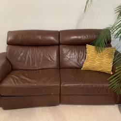 Sofa - leather couch with electric leg extension