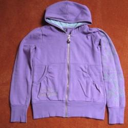 Leuk paars vest met capuchon en stiksels voor meisje mt 164
