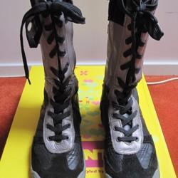 Stoere Piedro zwart zilver leren laarzen mt 37