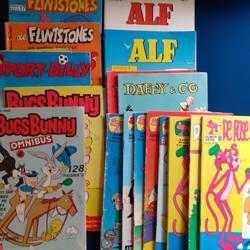 Jeugdstripboeken  oa de Roze Panter, de Flintstones