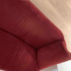 Ruime 3 zitsbank rood velours