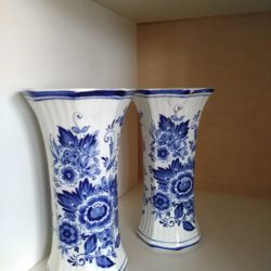 2 leuke Royal Japan Delfts Blauw vazen (schade)